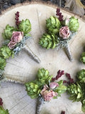 Boutonniere, hops and preserved roses