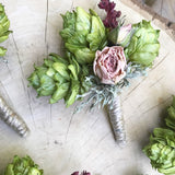 Boutonniere, preserved hops and roses