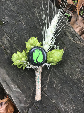 Boutonniere, bottle cap with hops