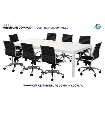 White frame and white top rectangular boardroom table with 8 chairs around it.