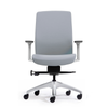 Aveya White Upholstered Ergonomic Office Chair  Adjustable Lumbar Support and Arms Grey Fabric Fabric seat and back front view