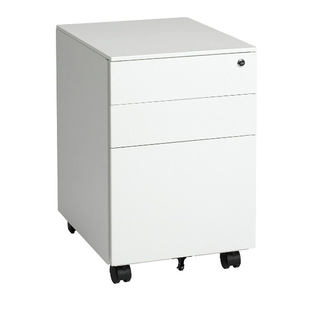 White steel mobile pedestal Functional storage; 2 x Box Drawers and 1 x File Drawer Available in White or Black Powdercoat Fully Locking Locking Castors Extra castor for support  Quick Delivery  10 Years Warranty  Width - 395mm Height - 600mm Depth - 500mm