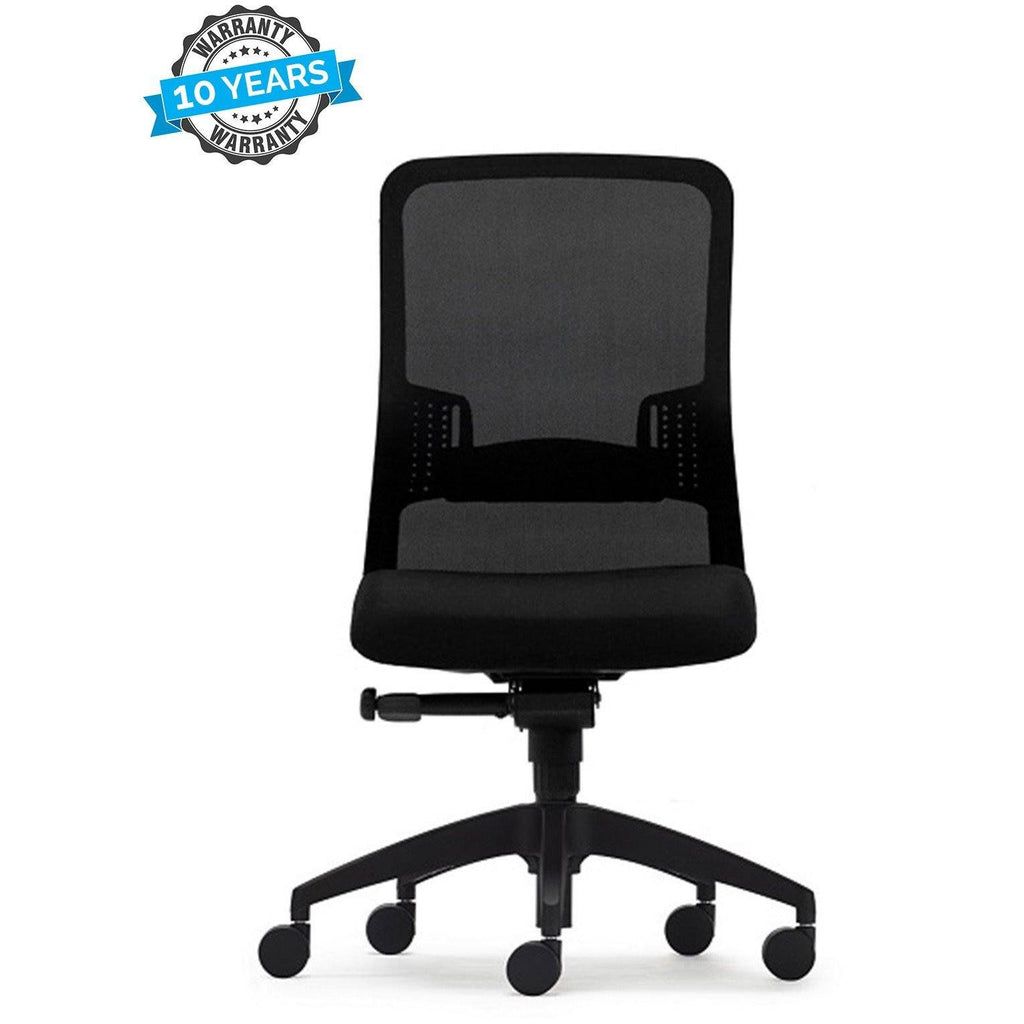 Mesh back ergonomic office chair. moulded foam seat.  comes standard with adjustable lumbar support and synchro tilt mechanism. Adjustable armrests and aluminium base are optional. Ideal for Task, Management or Boardroom use.  Features  ANSI/BIFMA X5.1 Certified Adjustable Lumbar Support Synchro Tilt Mechanism Adjustable Tilt Tension Control Seat Height Adjustment 140kg Recommended Weight Capacity 10 Year Warranty