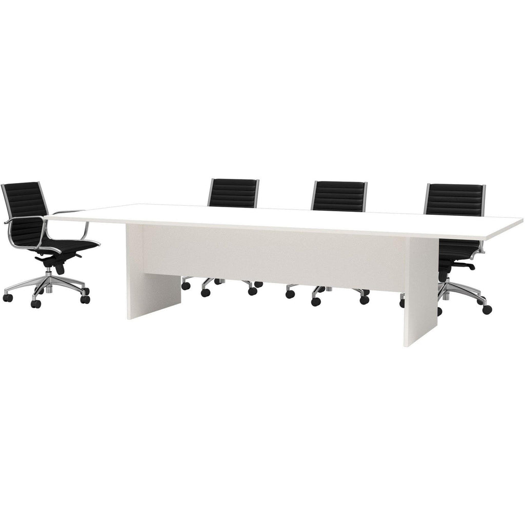 White Rectangular meeting table on Slab Base Includes 25mm worktop E0 Board – Environmentally friendly Choose from a large standard range of stocked board colours 10 Years Warranty  Sizes:  Width - 1500, 1800, 2100, 2400, 2700, 3000mm Height - 720mm Depth - 900, 1200mm