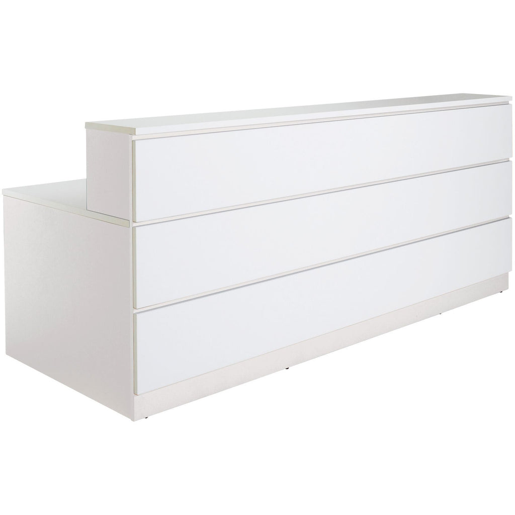 White reception counter Feature Highlights  Symmetry Operator Reception With feature panels/hob to front Made to order in Australia E0 Board – Environmentally friendly Choose from a large standard range of stocked board colours 10 Years Warranty