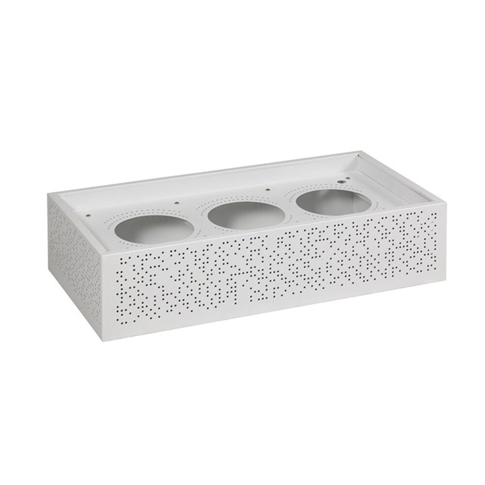 White perforated steel planter box to fit lateral and tambour units