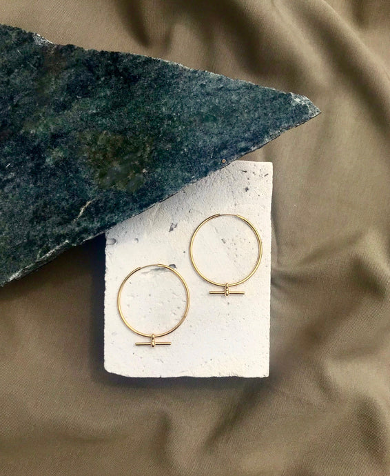 Milky Designs - Large Gold Hoops with T-Bar