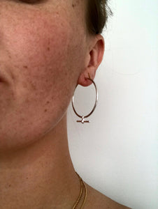 Milky Designs - Large Silver Hoops with T-Bar