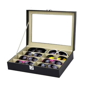 8 Slots Eyeglasses Faux Leather Storage Organizer - Accessories