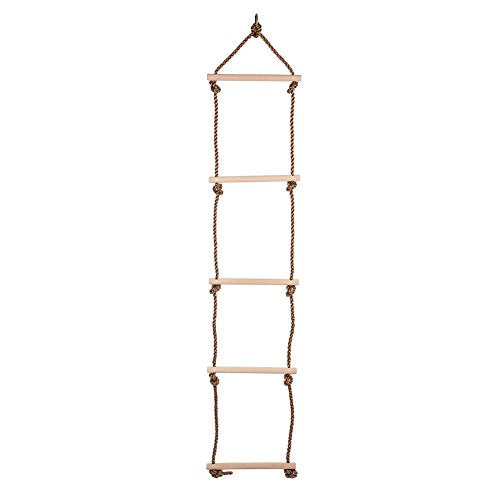 Fdit 5 Steps Climbing Rope Ladder Indoor/Outdoor 53 Inch Length Wooden Children Climbing Swing Kids Sports Toys PE Rope Rungs Sports for Active Outdoor Play Equipment
