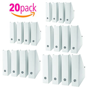 20 Pack Magazine, Document Organiser Holder in White for Office Home use.