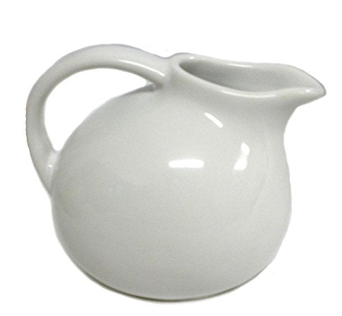 Small Round Stoneware Pitcher Creamer Retro Colors (White)