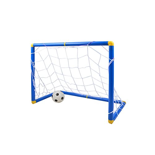 FenglinTech Soccer Goal, Portable Kids Sports Soccer Goals with Soccer Ball and Pump Practice Scrimmage Game - size S (Blue + White)
