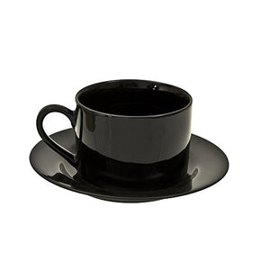 10 Strawberry Street Black Rim 6 Oz Can Cup and Saucer, Set of 6, Black
