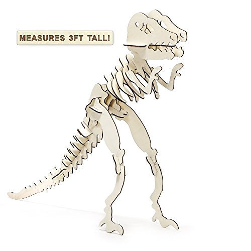 Prosumer's Choice Giant T-Rex 3D Jigsaw Puzzle Made of Laser-cut Wood for Easy Assembly, Ages 3+