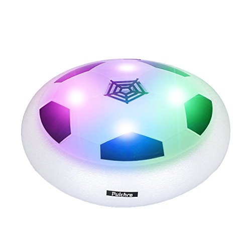 PULCHRA Air Soccer (LED Lights & Foam Bumpers Built in) Electronic Power Hover Soccers Disc for Kids Sports Toys Gifts Indoor & Outdoor Training Game Ball (White, Diameter: 18cm)