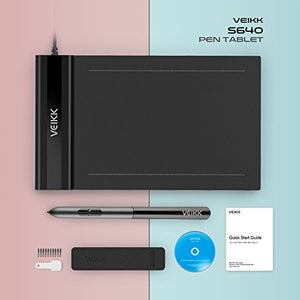 Digital Tablet for OSU! VEIKK S640 Ultra-thin 6x4 Inch Drawing Pen Tablet with 8192 Levels Passive Stylus Pen