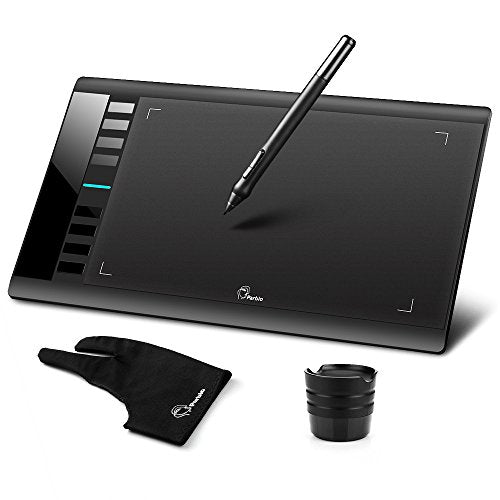 "Parblo A610 10"" x 6"" Graphic Drawing Pen Tablet 2048 Levels Pressure + Two Finger Anti-fouling Glove"