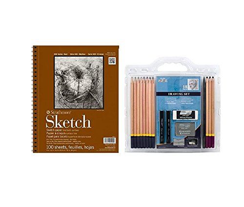 Strathmore kit : Series 400 Sketch Pads 9 in. x 12 in. - pad of 100 & 18-Piece Sketch/Drawing Pencil Set