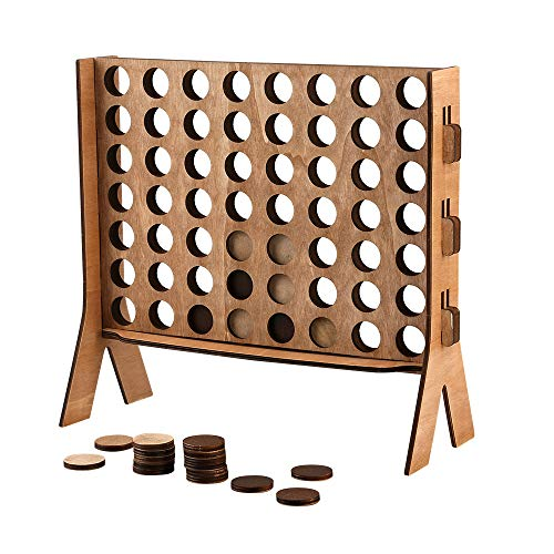 Giant 4 in A Row, Widely Favored Connect 4 Kids Board Games Made of Premium Wooden Board, Popular Indoor/Backyard Games for Family and Kids Fun