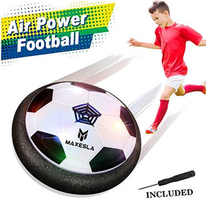 Hover Ball Air Power Soccer Disc – Maxesla Kids Sports Toys Pneumatic Suspended Floating Hockey Football, Foam Bumpers and LED Lights, Gliding Training Ball for Indoor and Outdoor Activities Games