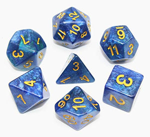 Polyhedral DND Dice Set RPG Bule Peacock Dice Fit Dungeons and Dragons Pathfinder D&D MTG Math Role Playing Game Board Games Table Game 7-Die Dice Set