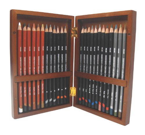 Derwent Sketching and Drawing Pencils, Wooden Box, 24 Count (2300154)