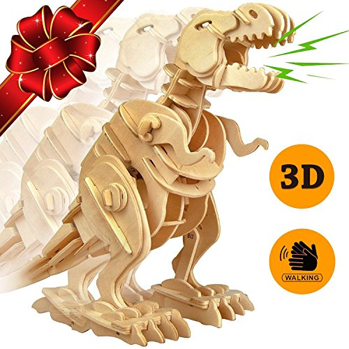 PONTE COLLECTION 3D Jigsaw Puzzle Wood DIY Craft Kit Dinosaur Puzzle Sound Control Toy Walking Wooden Creative Puzzle Robot Toys Best Educational Gift for Kids