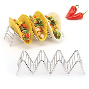 Taco Holder Stand, Rustproof Stainless Steel, Each Rack Holds 3 or 4 Hard or Soft Tacos Shells, Set of 2 (Chrome)