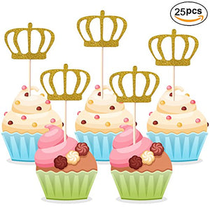 Gold Glitter Crown Cupcake Toppers 25 Pieces