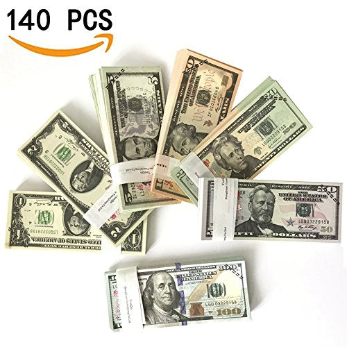 Prop Money-Play Money Full Print 2 Sided-Set of:$1,$2, $5, $10, $20, $50, $100 Dollar Bills,for Movie, TV, Videos, Pranks, Birthday Party, Play Board Games, Photography