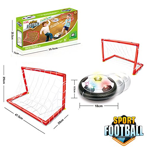 Air Power Soccer Ball,ANTIKE Kids Sports Toys Training Football Goal Set with 2 Gates Disk Indoor Outdoor Hover Ball Game with LED Lights