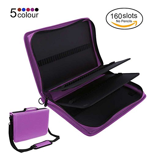 160 Slots Zippered Pencil Case Large Capacity Pen Bag Pouch With Adjustable Shoulder Strap PU Leather Storage Organizer Multi-Layer Stationary Case For Colored Pencil Drawing Pen, Purple