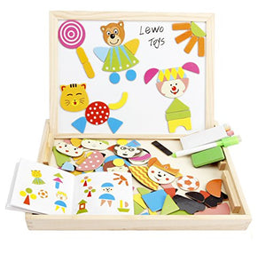Lewo Magnetic Jigsaw Puzzles Toddler Toys Travel Puzzle Double Sided Drawing Easel for Boys Girls