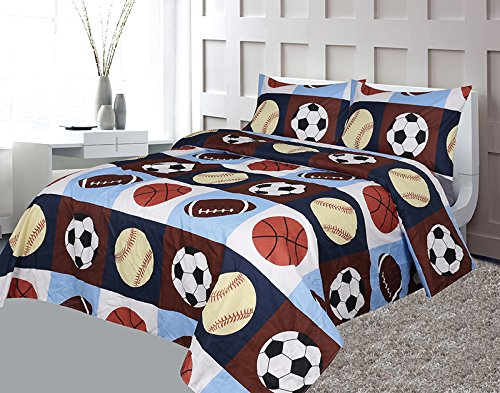 Golden Linens Full 4 Pieces ( Fitted, Flat Sheet and 2 Pillow Cases) Printed Printed Navy Blue, Sky Blue, Brown, Orange Kids Sports Basketball Football Baseball Kids Sheets Bed Cover # 02 Full Sheet