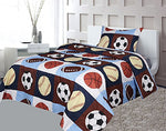 Golden Linens Twin 3 Pieces ( Fitted, Flat Sheet and Pillow Case) Printed Printed Navy Blue, Sky Blue, Brown, Orange Kids Sports Basketball Football Baseball Kids Sheets Bed Cover # 02 Twin Sheet