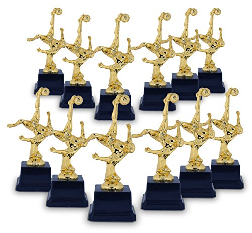 Juvale Soccer Trophy - 12-Pack Gold Trophy - Plastic Trophies Award Recognition for Soccer Players, Coaches for Kids Sports Tournaments, Competitions - Bicycle Kick Pose, 2.6 x 2.6 x 6.8 Inches