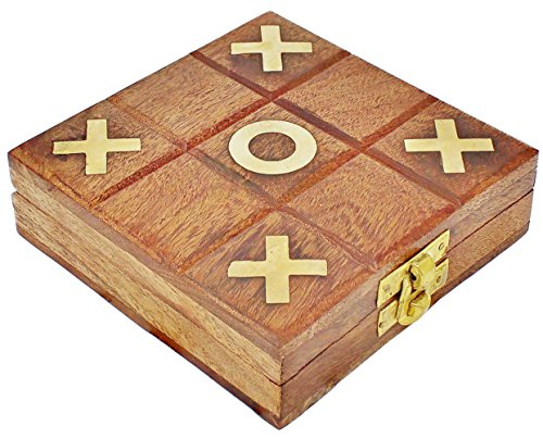 SKAVIJ Tic Tac Toe Wooden Travel Board Games Naughts and Crosses Family Brain Teaser Puzzle for Kids and Adults