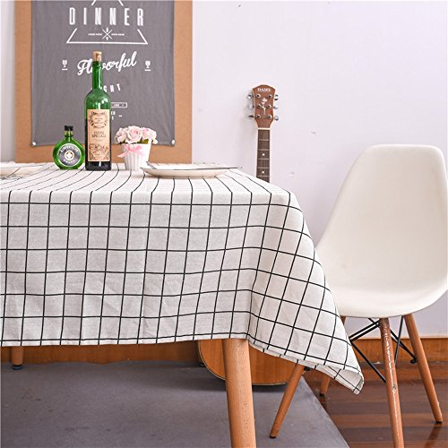 "Check pattern Cotton Linen Fabric Rectangle Decorative Dining Picnic Table cloths 3colors (100x140cm(39""x55"") - White"