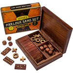 Vintage Wooden 3-in-1 Parlour Game Set | 28 Dominoes, 9 Tic-Tac-Toe Tokens, & 10 Wooden Dice | Includes Engraved Travel Display Chest | Play 3 Classic Board Games