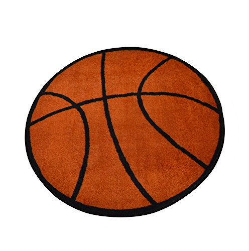"Basketball Rug 39"" Round Kids Sports Area Rug - Rugs 4 Less Collection"