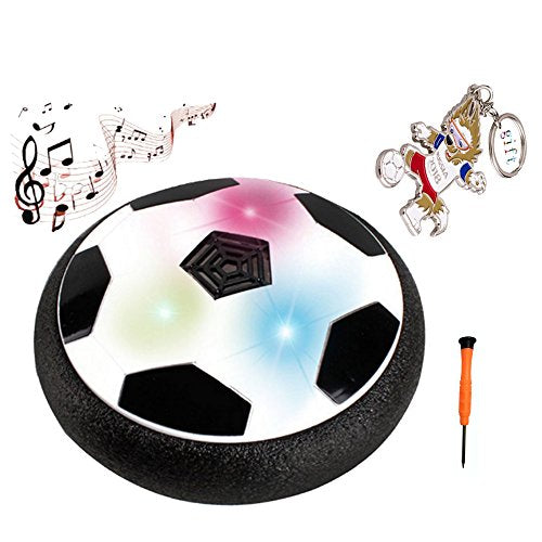 Hover Ball Air Power Soccer Disc Kids Sports Toys, Pneumatic Suspended Floating Hockey Football with Foam Bumpers, LED Lights and Music for Indoor or Outdoor Gliding Training Ball
