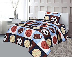 Golden Linens Twin 2 Pieces Printed Navy, Sky Blue, Brown, Orange, Yellow Kids Sports Basketball Football Baseball American football Kids Bedspread/ Coverlet Sets/ Quilt Set # 02 Quilt
