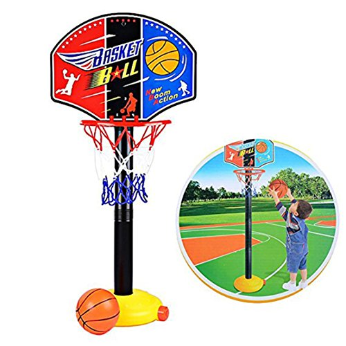 Bigbuyu Toddler Kids Sports Toy Easy Score Basketball Set Mini Basketball Toy Adjustable Basketball Hoop Stand Set for Boys Girls Outdoor Indoor Sports Train Player (One Set)
