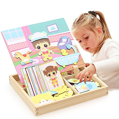SJDZ Wooden Drawing Toy,Magnetic White Board Games Princess Dress-Up Puzzle with Storage Case Toys for 3 years old