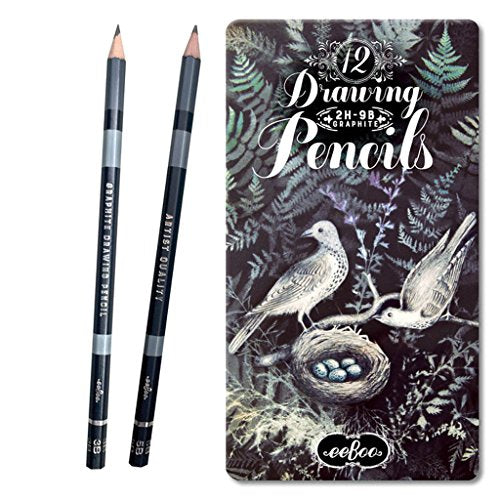 eeBoo Graphite Drawing Pencils in Doves in Ferns Tin Case, Set of 12