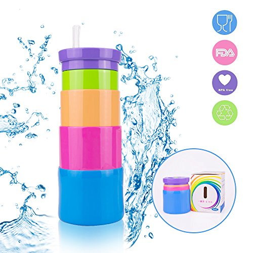 JingSheng Kids Sports Water Bottles, Collapsible Water Bottle with Straw & Wide Mouth 350ml-100% BPA Free 6 oz,Leak Proof Foldable Sports & Outdoor Water Bottles