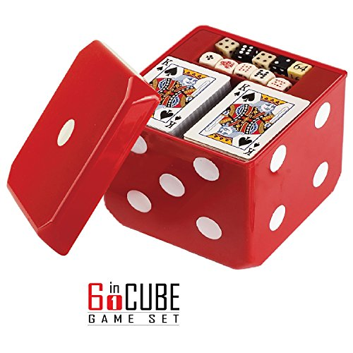 Gamie 6-IN-1 Dice Cube Game Set - by Board Games and Casino Set - Includes Chess, Checkers & Backgammon, 2 Decks of Playing Cards, Poker Chips, Poker Dice & Dominoes - Complete Kit for Family Fun