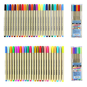 Yosoo 0.3MM Sketch Drawing Pen Colored Fineliner Pens Fine Point Markers Pen Pack of 24 Assorted Colors for designers Architecutre AD Comic Animation Drawing Lines and Signing (SETA+SETB)