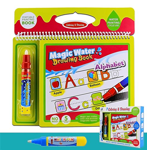 Toddler flash cards Water Painting Graffiti Book Card 26 Letters Chidrens Early Education Cognitive Cards A-Z Alphabet Word Colouring Doodle Board + 2 pcs Magic Drawing Pens Games toys